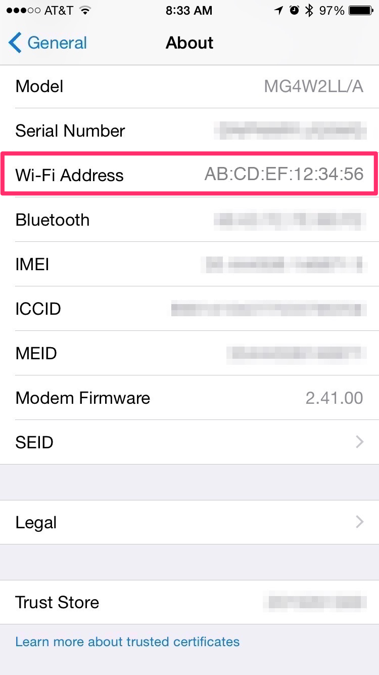 The reading of the MAC address IOS